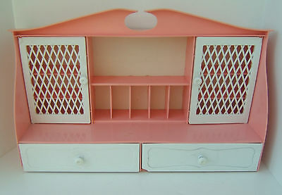 """Vintage Remco Child's Play Cupboard Cabinet~Plastic Pink and White~19"""" L   12"""" H"""