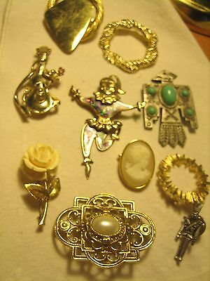 Vintage 10 Goldtone Pewter Tone Pins Brooches Stones Cameo