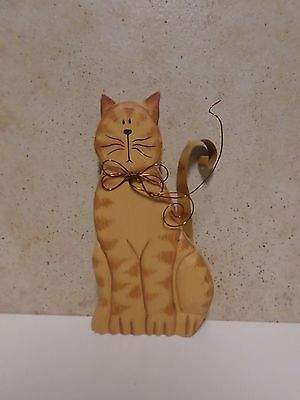 Wooden Sitting Cat With Wire Bow And Metal Tail