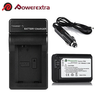 NP-FW50 1500mAh Replaced Battery+Charger for Sony NEX-3 Alpha A7 A7R A6000 A5000