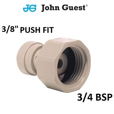 "3/4 BSP x 3/8"" John Guest Push Fit Tap Connector, Ro Unit, Fridge Water Filter"