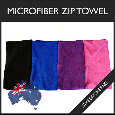 Microfiber Zip Towel Gym Sport Footy Travel Camping Swimming Hiking Microfibre