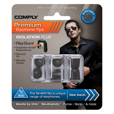Comply Foam Ear Tips Isolation Plus Tx-400 Black - 3 Pairs