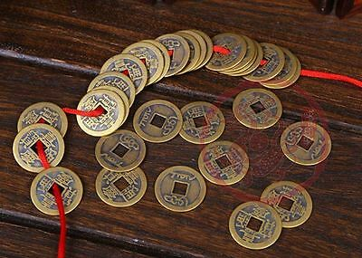 100PCS Feng Shui Chinese Ching Emperors Old Lucky Brass Coins For Fortune Wealth