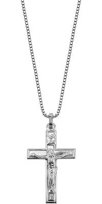 Trendor Jewellery Silver Necklace with Crucifix Pendant 48924