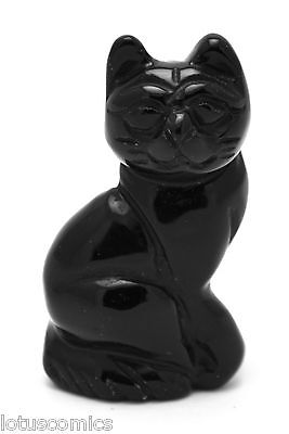 Precious Carved Black Obsidian Gemstone Sitting Cat - Adorable for the cat lover