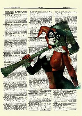 Harley Quinn Batman Dictionary Art Print Poster Picture Marvel Comic Superhero
