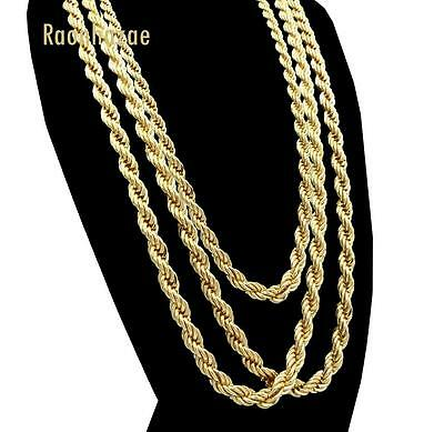 """Men Stainless Steel 14k Gold Plated 3 to7mm wide 20"""" 24"""" 30"""" Rope Chain Necklace"""