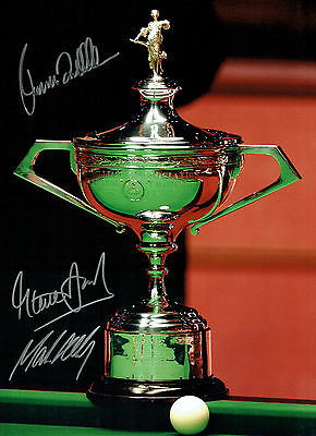 Ronnie O'SULLIVAN Mark SELBY DAVIS Signed Autograph HUGH SNOOKER Photo AFTAL COA