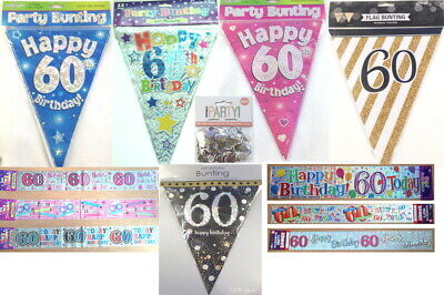 60th Birthday decorations banner bunting sign garland necklace