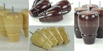 4x WOODEN FURNITURE LEGS/FEET MAHOGANY OR NATURAL - SOFA, CHAIRS, SETTEE M8(8mm)