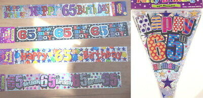 65th Birthday decorations banner bunting sign garland necklace