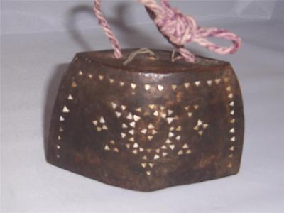 Wooden Bell with Mother of Pearl Inlay  Made in Indonesia Vintage