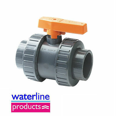 Standard Double Union Ball Valve Grey uPVC Pipe Fitting Imperial