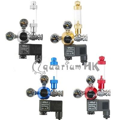 DICI Aquarium CO2 Regulator Solenoid Magnetic Valve Dual Gauge Bubble Counter