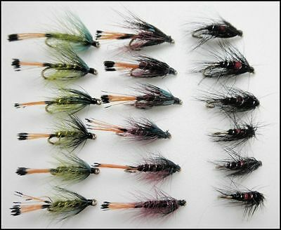 Wet trout Flies, 18 Pack Bumble & Bibio Wet Fly Mixed sizes, For Fly Fishing