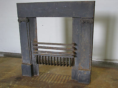Antique decorative black iron fireplace surround, ionic columns, great condition