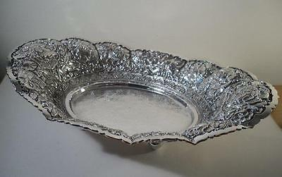 A Large Oriental Style Silver Fruit Bowl / Table Dish : Singapore c1900