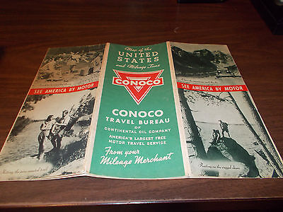 1936 Conoco United States Vintage Road Map