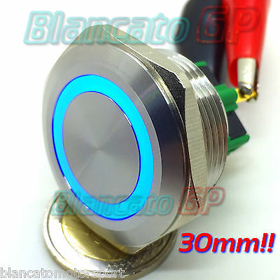 PULSANTE SPDT MONOSTABILE 30mm LED BLU 12V IP65 auto moto push round switch kfz
