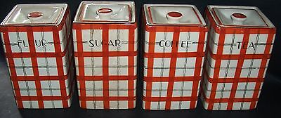 Vintage Retro ceramic Red Plaid 4 piece Canister -  Made in Japan