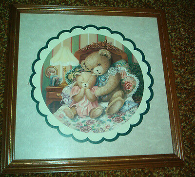 Home Interiors Mother, Baby Bear Praying Picture Wood Frame