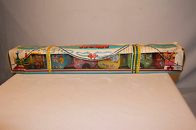 1960's Circus  Animal  Windup Zig Zag Train, With Original Box, Made in Japan
