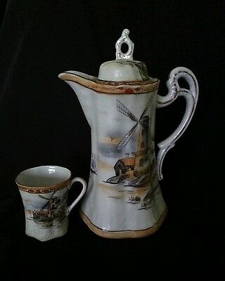 "Antique Japanese hand decorated porcelain coffee pot set mark ""Made in Nippon"""