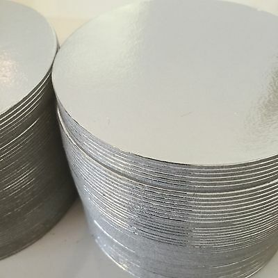 "50 x 4"" Inch ROUND Thin Cut Edge Cake Boards Cards Sugarcraft Culpitt SILVER"