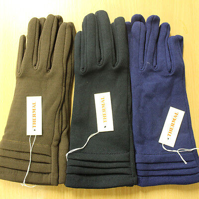 Ladies Girls One Size Fits All Stretch Thermal Fitted Gloves Brown Black Blue