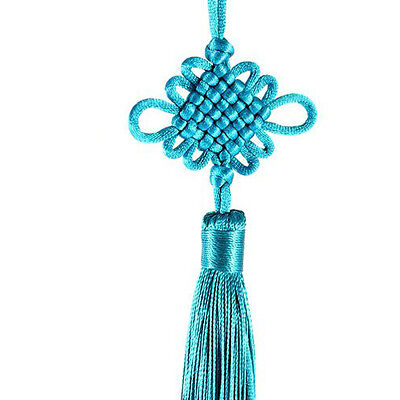 24cm Home Bedroom Decor Hanging Pendant Chinese Knot Teal WS