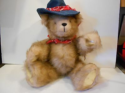 """Artist HANDMADE 19"""" Teddy BEAR Western Atire MUSICAL jointed One-of-a-Kind"""