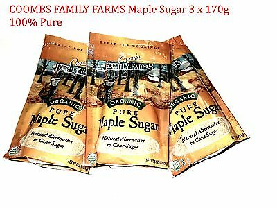 3 x 170g COOMBS FAMILY FARMS Maple Sugar ( 100% Pure )