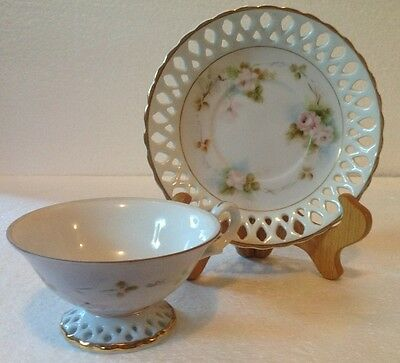 M K Vintage Tea Cup Teacup Handpainted Trimmed In Gold With Cutouts