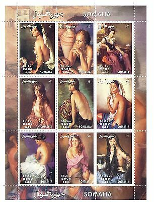 Somalia Stamps 2000 Paintings of nude women souvenir sheet of 9 stamps / MNH