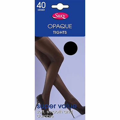 NEW Silky Super Value 40 Denier Opaque Tights, Nude, Brown Black *Size M*