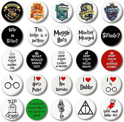 "HARRY POTTER  (Various Designs) - 1"" / 25mm Button Badge - Novetly JK Rowling"