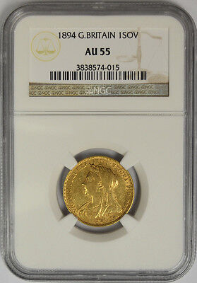 1894 Great Britain Gold Sovereign, NGC AU 55. Queen Victoria Veiled Head