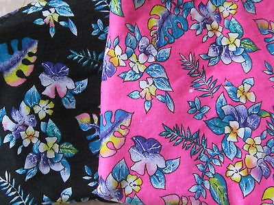 3 pieces of romantic knit floral tropical flowers black & pink fabric material
