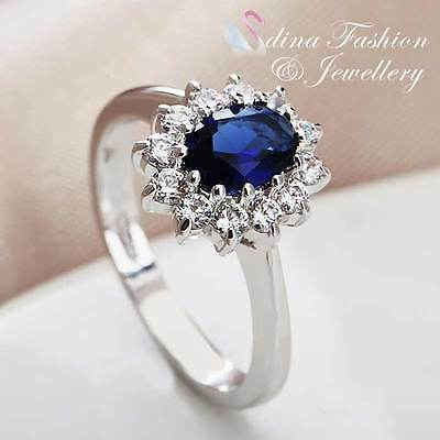 18K White Gold Plated Made With Swarovski Crystal Sunflower Sapphire Ring