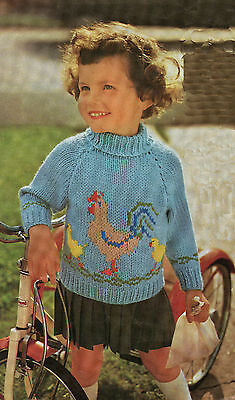 Vintage Knitting Pattern Child's Chicken and Chick Sweater Chunky Yarn