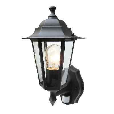 Coach Lantern with PIR Traditional Black Garden Wall Lantern - Aluminium 6Sided