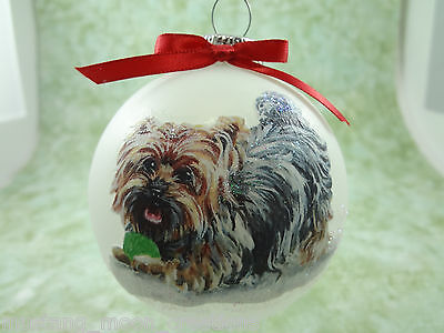 Hand-made Christmas Ornament dog - Yorkshire Terrier Yorkie - playing ball D020