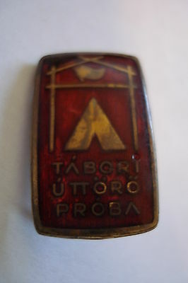 Hungary Hungarian Young Pioneer Equipment Field Test Vintage Brass Badge Pin
