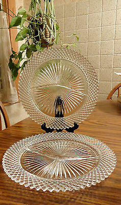 2 Miss America Dinner Grill Plates Depression Glass Anchor Hocking Glass Plates