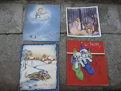 Christmas Cards Vintage 40s 50s Lot of 4 Cards All Made In USA & Used