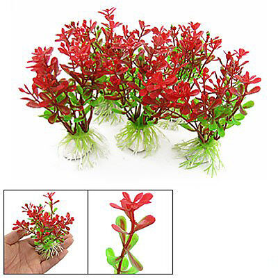 5Pcs Red Green Plastic Plant Decor & Ceramic Base for Fish Tank Aquarium PK
