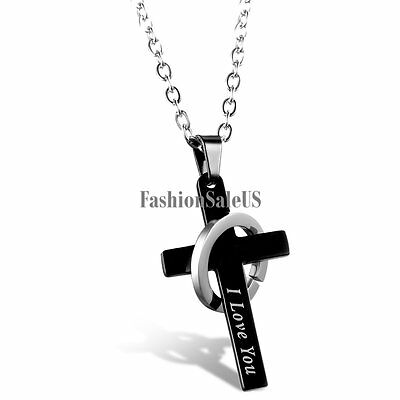 "Black Cross Silver Ring Band ""I love you"" Pendant Men's Women's Necklace Chain"