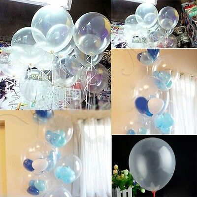 100x Clear Transparent Party Wedding Birthday Decor Decal Balloons 10inch 25cm