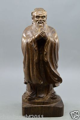 Chinese agalloch eaglewood wood antique hand-carved bodhisattva statue Confucius